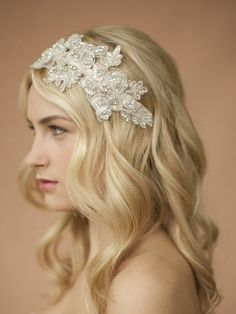 Sculptured Ivory Lace Wedding Headband with Crystals & Beads