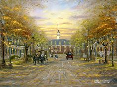 City of Romance : Robert Finale Paintings Wallpapers  - Williamsburgh in Virginia - Romantic Impressionistic Oil Painting.  30