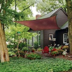 Outdoor , Modern Outdoor Landscaping Ideas: Small Yard Landscaping Ideas With Sun Sail Shade As An Alternative For Pergolas Or Gazebos : A Small Beautiful Garden Patio With Green Square Sun Shade Sail Outdoor Areas, Outdoor Rooms, Outdoor Living, Outdoor Decor, Triangle Shade Sail, Sun Sail Shade, Shade Sails, Deck Sun Shade, Patio Shade