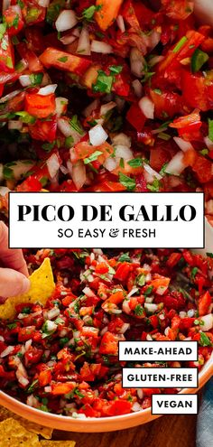 Learn how to make CLASSIC PICO DE GALLO with this easy recipe! You'll need just a few basic ingredients to make this fresh and healthy Mexican recipe—ripe tomatoes, onion, cilantro, jalapeño and lime! Healthy Mexican Recipes, Gourmet Recipes, Dinner Recipes, Cooking Recipes, Mexican Desserts, Mexican Bowl Recipe, Healthy Mexican Sides, Cooking Tips, Healthy Eating Tips