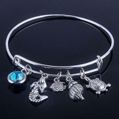 NP22 -New design Adjustable Expandable Wire bracelets bangles diameter 65mm silver plated sea life and blue birthday stone bracelets