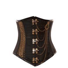 Black Chains Vintage Goth Underbust Corset - Steam punk corset
