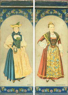 Swiss ladies on a tea tin. | Inspiration for raredirndl.com