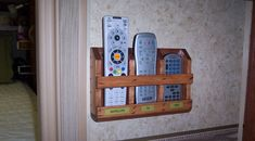 DIY Remote Control Holder from Truck camper magazine. Dvd Organization, Remote Control Holder, Diy Home Furniture, Truck Camper, Wooden Crates, Diy Wood Projects, Diy And Crafts, Crafty, Popup