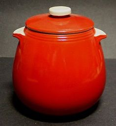 """Beautiful Vintage Hall's Pottery Chinese Red & White Jar w/ Lid 7"""" Tall"""