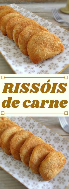 These meat rissoles can be presented as an appetizer at a party or, at a lunch or dinner served with carrot rice and tomato salad! Meat Recipes, Appetizer Recipes, Appetizers, Cooking Recipes, Salad Recipes, Portuguese Desserts, Portuguese Recipes, Portugal, Oven Vegetables