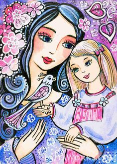"""This item is based on our original painting, named """"Mother and Daughter in Blue"""". It depicts a beautiful and youthful loving mother, covered in a halo of flower Mother Art, Mother And Child, Feminine Decor, Angel Drawing, Art Populaire, Krishna Art, Mothers Love, Painting For Kids, Cute Illustration"""