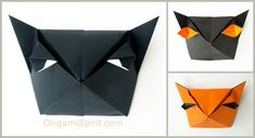 Make an Origami Cat-Box for Halloween - Gato caja para  Halloween #halloweenorigami #origamicat #cat