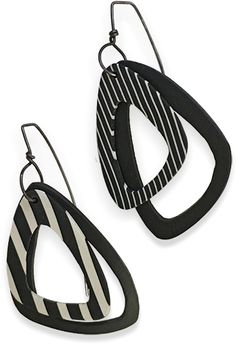 These mismatched black and white striped cutout earrings are lightweight, fashionable and show a clever use of graduated templates. They're from Connecticut's Libby Mills who shared a work table with me in Virginia. Libby's fond of clean, simpl [...]