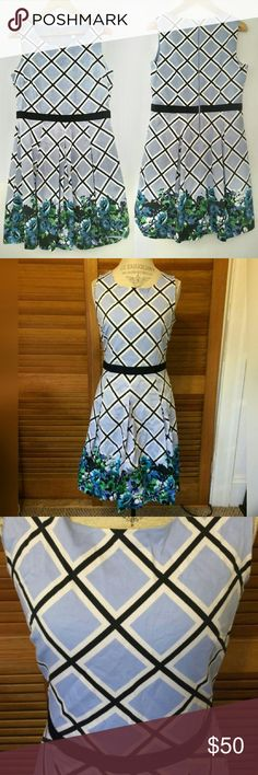 """SALE🌟NWOT NY&Co Blue Floral Fit & Flare Dress 🎀15% Off Bundles🎀  This dress is so cute I bought it in two sizes & this is the one that didn't fit. Full of flattering details. Lattice pattern sky blue dress leads you to a garden of beautiful blue flowers at the hem. Contrast belted waist in navy blue. Fully lined. Invisible back zipper. Pleated skirt adds fullness. Fabric has a touch of spandex for a comfortable fit.  {Measurements} Bust: 19""""  Waist: 16"""" Length: 37""""  {Materials} 97% Cotton…"""