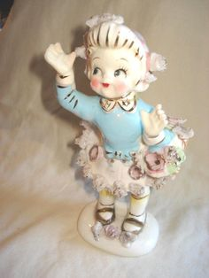 Vintage Lipper Mann Girl with Skirt Up Ceramic Figurine   #1799717397