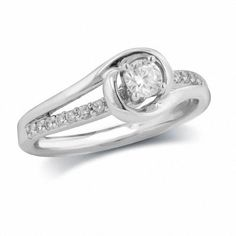 #ZALES - #Firestar Diamond Inc 1/3 CT. T.w. Diamond Bypass Engagement Ring in 14K White Gold - AdoreWe.com