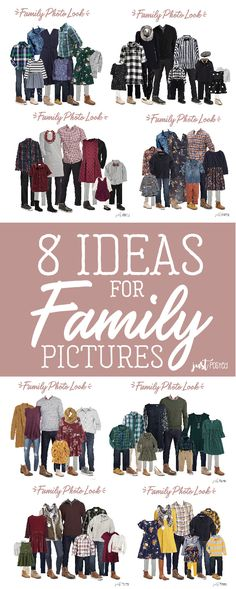 are 8 different options for what to wear for family pictures from babies and toddlers to adults! Some of these will be absolutely perfect for Christmas too! Each look has links included and 8 completely different color schemes for Family Pictures! Fall Family Picture Outfits, Winter Family Pictures, Family Portrait Outfits, Family Pictures What To Wear, Family Picture Colors, Baby Pictures, Family Portraits What To Wear, Outfits For Christmas Pictures, Holiday Outfits