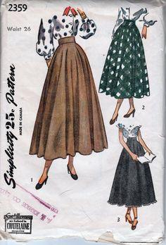 Simplicity 2359 Vintage 1940's Sewing Pattern Ladies Circle Skirt