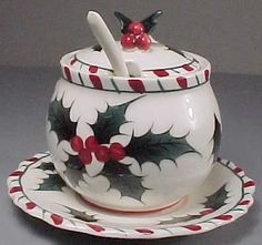 Lefton jam jar with lid and spoon in a Christmas Candy Cane Holly design