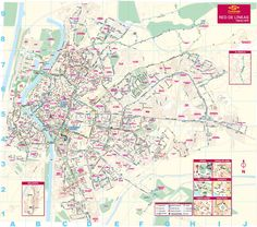 Bus routes in Seville, Spain. A detailed large map.