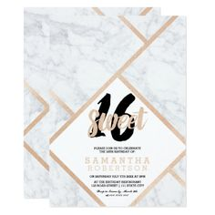 Modern rose gold white marble color block Sweet 16 Card