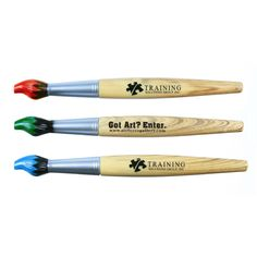 Paintbrush Pen -- Ideal for art studios, educational facilities and other artistically themed events this unique paintbrush pen makes a fantastic giveaway at community festivals! With a twist release design this unique writing implement can add plenty of color to your marketing campaign whether you're organizing a special event or promoting a new business. Hand out these customized pens at the next tradeshow, conference or fundraiser you attend!