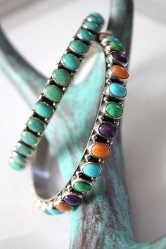 "Jewelry :: Bracelets :: ""HUSBAND AND WIFE"" NAVAJO TURQUOISE OR MULTISTONE BANGLE BRACELETS - Native American Jewelry Ladies Western Wear Dou..."