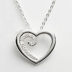Silver Plated Cubic Zirconia Heart Swirl Pendant