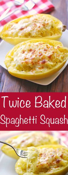 Twice baked spaghetti squash is the perfect healthy alternative to twice baked potatoes or sweet potatoes. It's delicious, filling, and very presentable. Healthy Food Alternatives, Healthy Recipes For Diabetics, Healthy Food Blogs, Healthy Breakfast Recipes, Cheesy Spaghetti Squash, Spaghetti Squash Recipes, Spagetti Squash Bake, Clean Eating Snacks, Vegetable Recipes