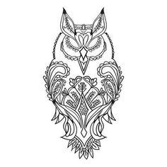 Скачать - Наброски сова черный, с узорами для рисования, вектор — стоковая иллюстрация #111305264