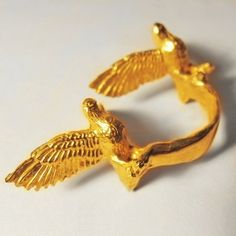 Two Birds One Stone Ring Pictured in Gold Brass. Also available in Sterling SIlver
