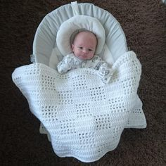 You cannot (or better you should not) use anything to cover your baby while s/he is sleeping before one year old, because of the security reasons. Crochet Baby Blanket Free Pattern, Baby Afghan Crochet, Free Crochet, Double Crochet Baby Blanket, Basic Crochet Stitches, Crochet Basics, Baby Patterns, Crochet Patterns, Dress Patterns
