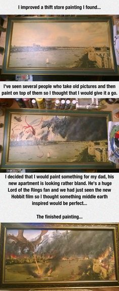 A cool way to improve a painting. Art Drawings, Amazing Artwork, Awesome Paintings, Fantastic Art, Awesome Art, Funny Paintings, Funny Gifs, Funny Memes, Funniest Memes