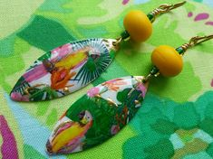 Parrots In Paradise, Exotic Boho Earrings, Enamelled Brass Dangles, Tropical Earrings For Summer, taneres, NaelAtelier, Northernblooms