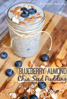 This Blueberry Almond Milk Chia Pudding recipe is the perfect make-ahead breakfast. Wondering how to make chia pudding? This recipe is perfect and easy! Healthy Treats, Healthy Recipes, Chia Puding, Whole Food Recipes, Cooking Recipes, Think Food, Pudding Recipes, Breakfast Recipes, Chia Breakfast