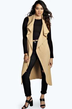 Plus Paige Sleeveless Belted Waterfall Cardigan alternative image Diva Fashion, Cute Fashion, Fashion Looks, Womens Fashion, Plus Size Tops, Plus Size Women, Waterfall Cardigan, Waterfall Jacket, Kinds Of Clothes