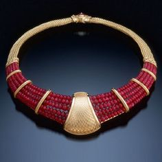 Kent Raible gold and ruby necklace