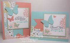 2014 Sweet butterflies - Stamps—Petal Parade (wood - coming January 28, 2014), Simply Sketched Hostess (wood) card #1, Lots of Thanks (wood) card #2 Tools—Big Shot, Beautiful Wings Embosslit, Banners Framelits,