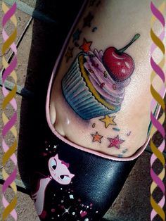Best friend matching tats only with a lollipop instead of cupcake