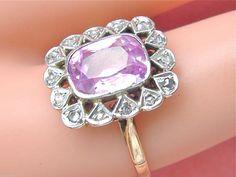 1920s 18K Two Tone Kunzite Diamond Ring, 0.14 ctw