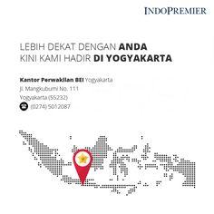 Lebih dekat dengan Anda, kini kami hadir di Yogyakarta. Kunjungi kami di Kantor Perwakilan BEI Yogyakarta Jl. Mangkubumi No. 111, Yogyakarta (55232). Telepon : (0274) 5012087  #IndoPremier #IPOTFUND #Investasi #reksadana #investasiviachat #belireksadanaviachat #pertamadiindonesia
