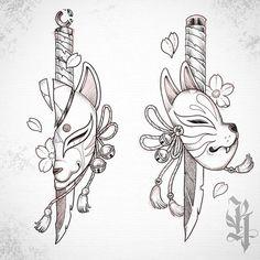 Japanese Tattoo Designs, Japanese Tattoo Art, Tattoo Designs Men, Japanese Art, Best Sleeve Tattoos, Cute Tattoos, Body Art Tattoos, Hand Tattoos, Fox Tattoos