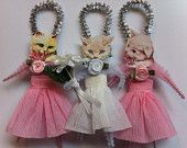 wedding kitty cat bride & bridesmaids set of 3 vintage style chenille ornaments  StanleyAndStewart  vintage style chenille ornaments Etsy