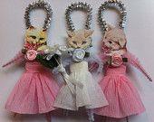wedding kitty cat bride & bridesmaids set of 3 vintage style chenille ornaments  StanleyAndStewart  vintage style chenille ornaments Etsy