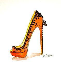 Fashion illustration:   Louboutin Spring 2012 original art. $24.00, via Etsy.