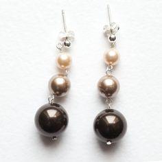 Brown, Gold & Peach Pearl Earrings