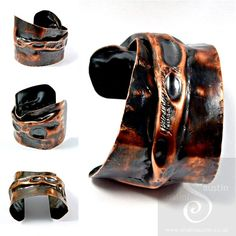 """Air Chased Copper Cuff """"Lunar"""" #Handmade in #Stamford UK"""