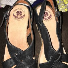 Lucky brand shoes good condition Wedges black leather couple little marks on leather heel 3 in a half Lucky Brand Shoes Wedges