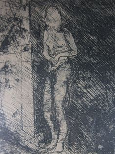 Luigi Bartolini, Anna si allaccia il busto. Acquaforte originale. Incisione.