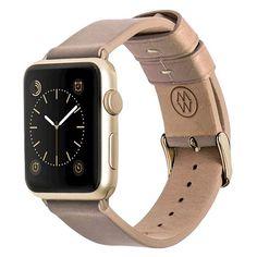 Monowear Classic Leather band in BEIGE for 42MM Apple Watch series 1 & 2 in Yellow Gold finish