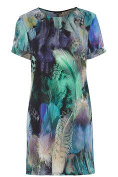 Dresses   Multi Feather Print Tunic Dress   Warehouse