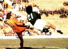 Holland 0 Peru 0 in 1978 in Mendoza. Ramon Quiroga gets the ball before Rene van de Kerkhof in Group 4 at the World Cup Finals.