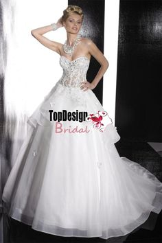 Wholesale free shipping bridal gown new wonderful sweetheart semi-cathedral train beaded embroidered bridal gown wedding dress Style 15470
