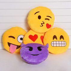 Fofo Cushion Emoji Smiley Emoticon amarela em volta Pillow Stuffed Plush Toy Boneca